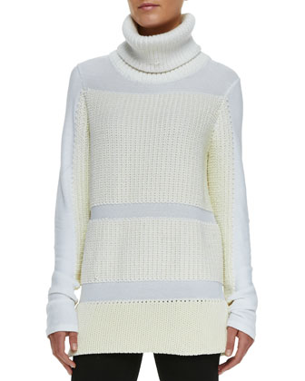 Smooth/Chunky Knit Turtleneck Sweater