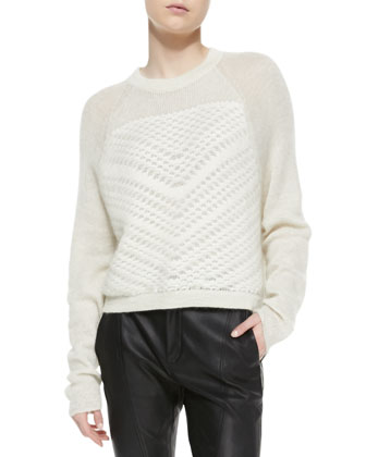 Mixed-Knit Fuzzy Pullover & Seamed Slim Leather Moto Pants