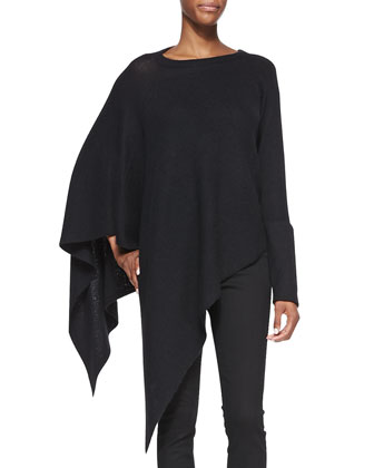 Soft Blend Knit Poncho & Bat Wash Skinny-Leg Denim Jeans