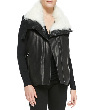 Fur-Trim Leather Vest, Draped Kinetic Jersey Top & Bat Wash Skinny-Leg ...