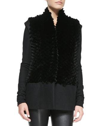Pike Felt/Fur Vest, Tilt Deep-V Leather/Knit Top & Stretch-Leather Skinny Pants