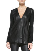 Tilt Deep-V Leather/Knit Top