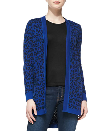 Long Open-Front Leopard-Print Cardigan