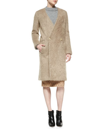 Mohair Collarless Coat, Camel