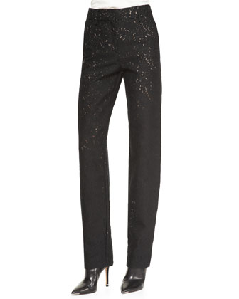 Flecked Zip-Front Straight-Leg Pants, Black