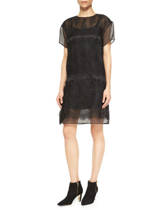 Short-Sleeve Chantilly Lace-Overlay Dress