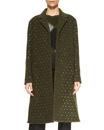 Crystal-Studded Boucle Coat, Short-Sleeve Argyle Wool Sweater, Flecked ...