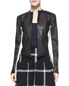Leather-Detail 2-Tone Open-Front Jacket