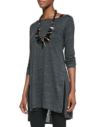 Melange Slub Long Tunic, Women's