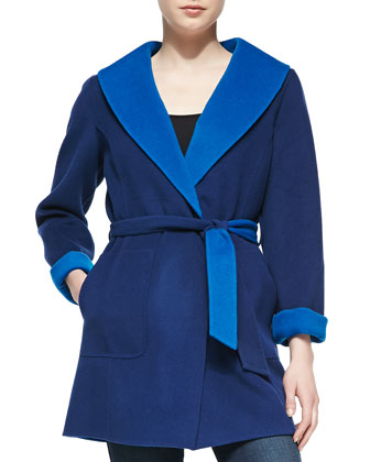 Double-Face Coat with Tie Belt