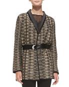 Jazz Age Faux-Leather-Trim Jacket