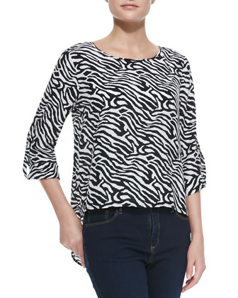 Zebra-Print Long-Sleeve High-Low Top
