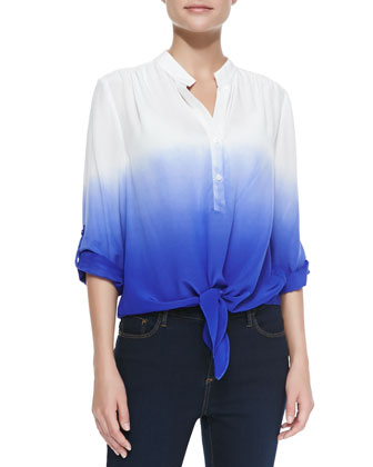 Night Sky Ombre Tie-Front Blouse