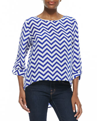 Chevron Long-Sleeve High-Low Blouse