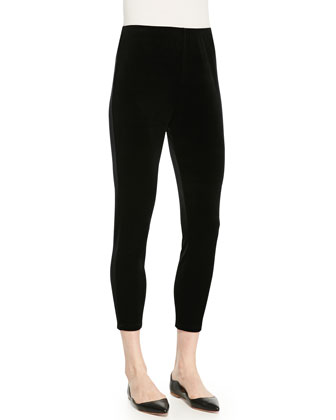 Cropped Velour Leggings, Black