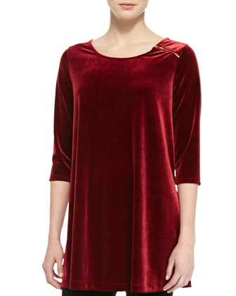 Velour Long Tunic, Wine, Petite