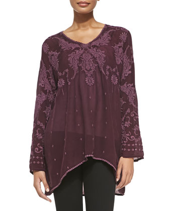 Fabb V-Neck Embroidered Georgette Top, Women's