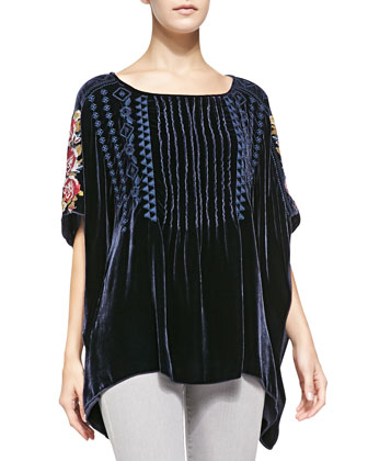 Velvet Pintucked Embroidered Poncho, Women's