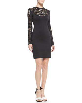 Laser-Cut-Top Fitted Jersey Dress