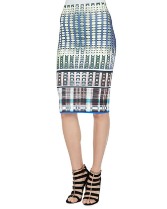 Donegal Printed Pencil Skirt