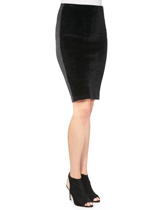 Faux-Fur/Neoprene Pencil Skirt