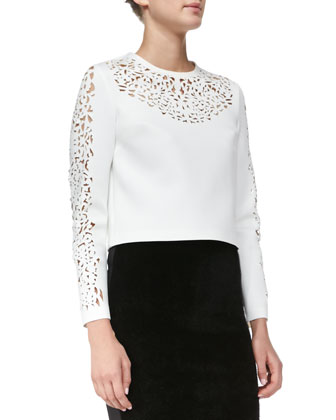 Laser-Cut Sateen Top, White