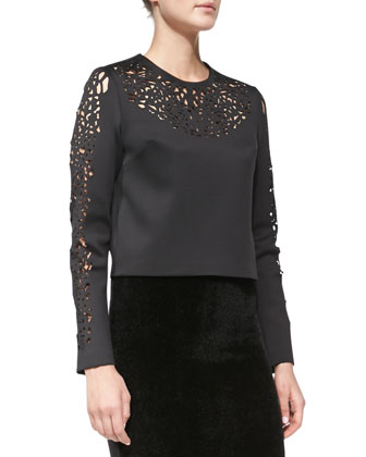 Laser-Cut Sateen Top, Black