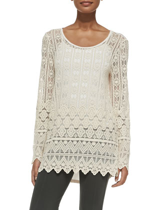 Long-Sleeve Lace Tunic, Women's