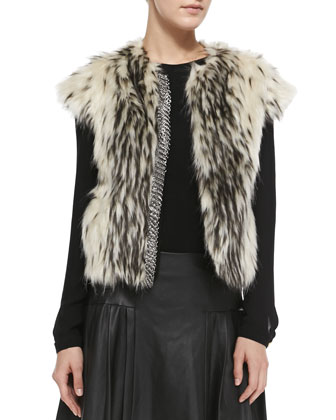 Chainmail-Detail Faux Fur Vest, Georgette Double-Layer Blouse & ...