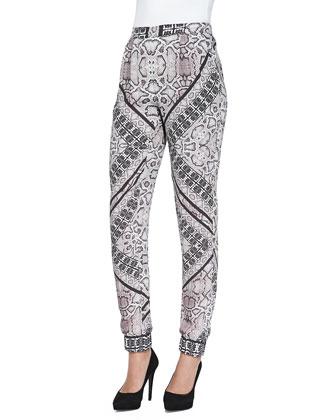 Snakeskin-Print Jogger Pants