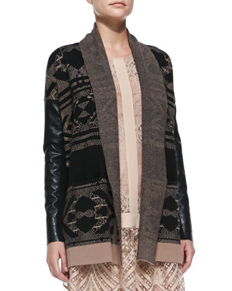 Faux-Leather-Sleeve Knit Log Cabin Cardigan