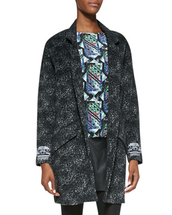 Melton Embroidered-Cuff Knit Coat, Zip-Back Printed Silk Top & Faux-Leather ...