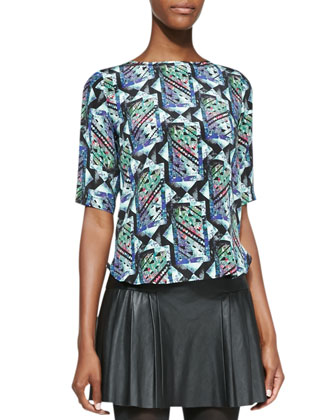 Zip-Back Kaleidoscope Printed Silk Top