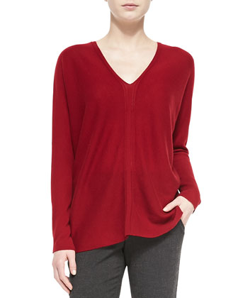 Cashmere Ladder-Stitch V-Neck Sweater