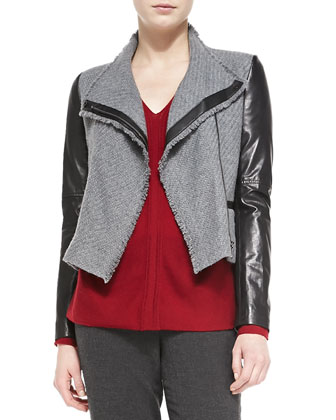 Leather-Sleeve Boucle Jacket, Ladder-Stitch V-Neck Sweater & Ribbed-Cuff ...