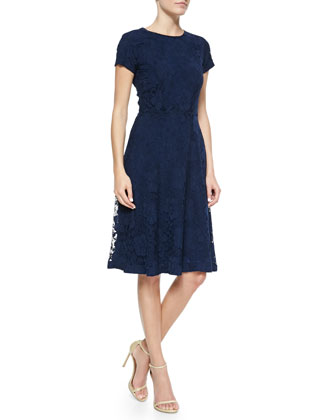 Short-Sleeve Lace Cocktail Dress
