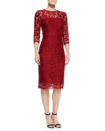 3/4-Sleeve Lace Cocktail Dress
