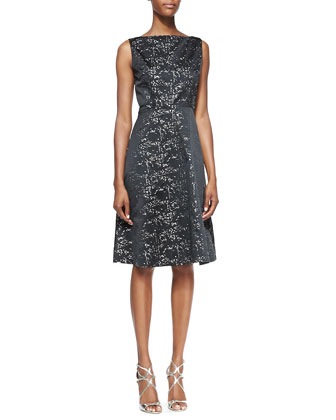 Sleeveless Metallic Speckle Lace A-Line Cocktail Dress