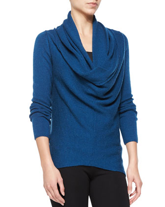 Waffle-Knit Sweater with Draped Front, Tanzanite