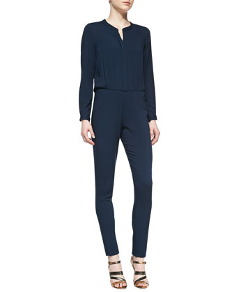 Bianca Jersey Long-Sleeve Jumpsuit