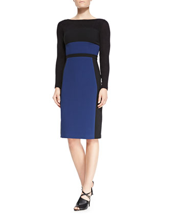 Liam Long-Sleeve Colorblock Sheath Dress