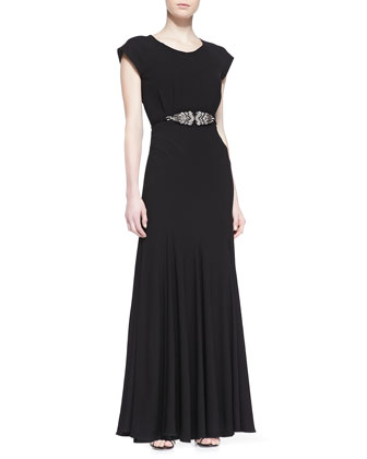 Open-Back Gown with Beaded Belt, Black