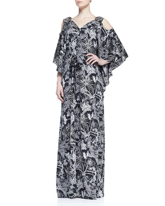 Cold Shoulder Floral Print Caftan, Black/White