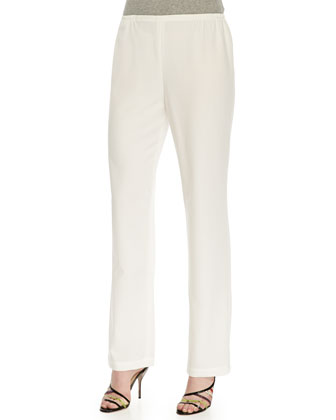 Crepe Straight-Leg Pants, White, Women's