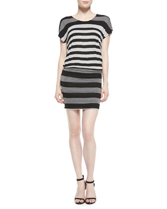 Brix Striped Jersey Short-Sleeve Dress
