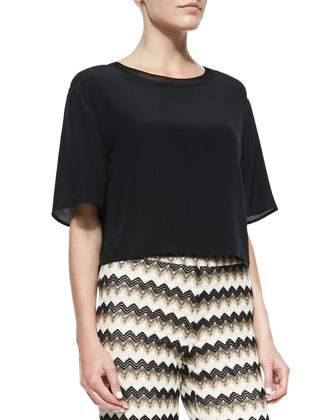Khloe Silk Round-Neck Top, Black