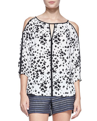 Posh Printed Cold-Shoulder Top