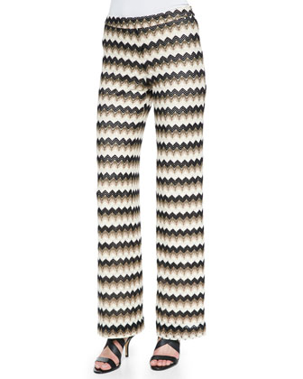 Perleen Zigzag-Design Wide-Leg Pants, Multi