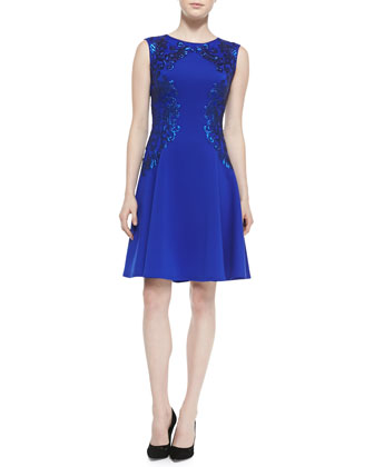 Sleeveless Sequined-Appliqu?? Cocktail Dress