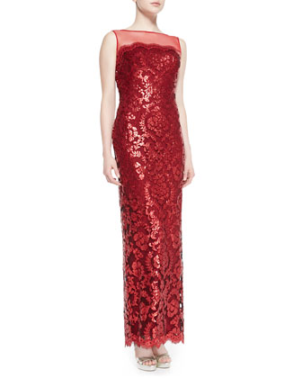 Sleeveless Sequined Lace Overlay Gown